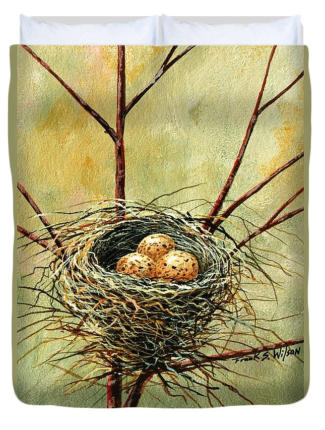 Still Life Duvet Cover featuring the painting Bird Nest by Frank Wilson