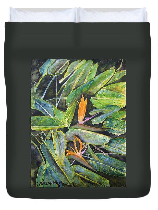 Flower Duvet Cover featuring the painting Bird Of Paradise 2 by Derek Mccrea