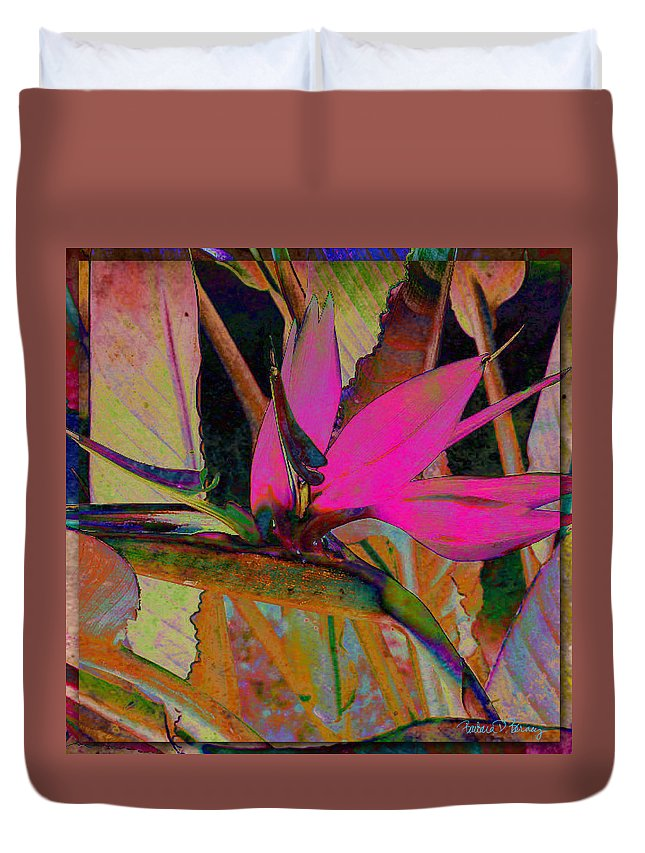 Flower Duvet Cover featuring the digital art Bird Of Paradise by Barbara Berney