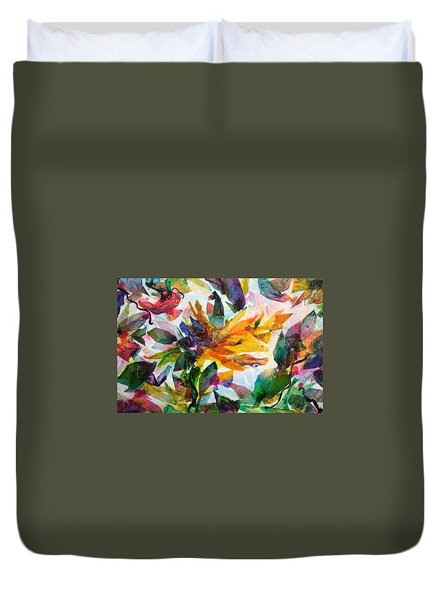 Abstract Duvet Cover featuring the painting Bird Of Paradise by Barbara Colangelo