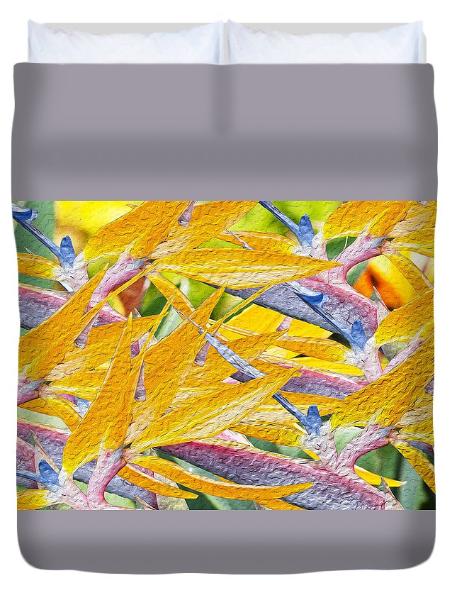Floral Duvet Cover featuring the photograph Bird Of Paradise Collage by Doug Shanaman