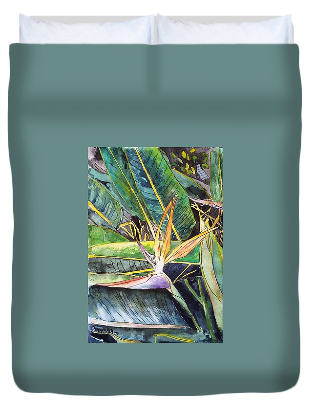 Watercolor Duvet Cover featuring the painting Bird Of Paradise by Derek Mccrea