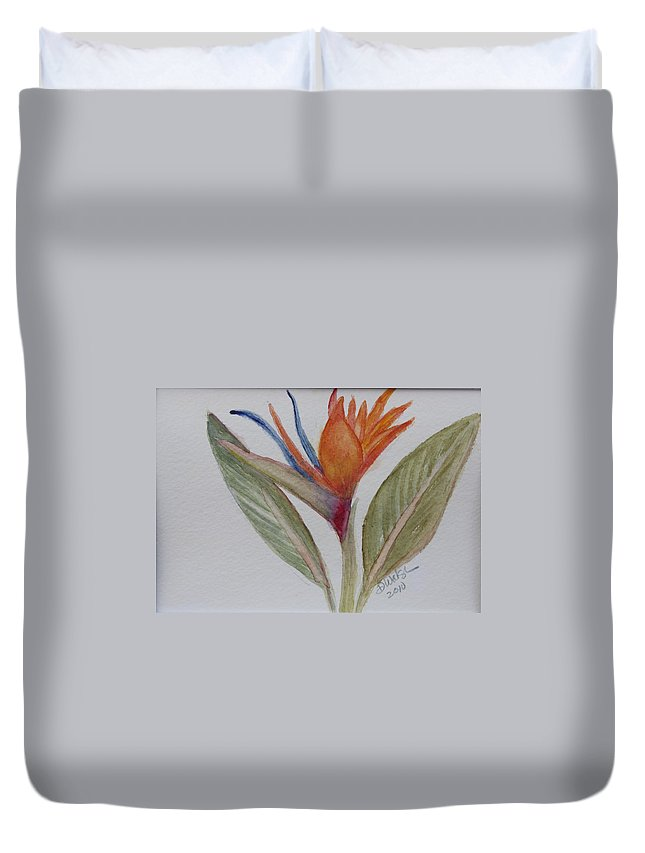 Bird Of Paradise Duvet Cover featuring the painting Bird Of Paradise by Donna Walsh