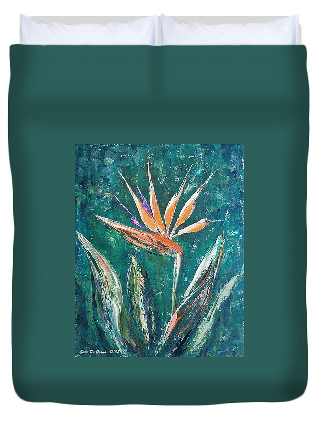 Bird Of Paradise Duvet Cover featuring the painting Bird Of Paradise by Gina De Gorna