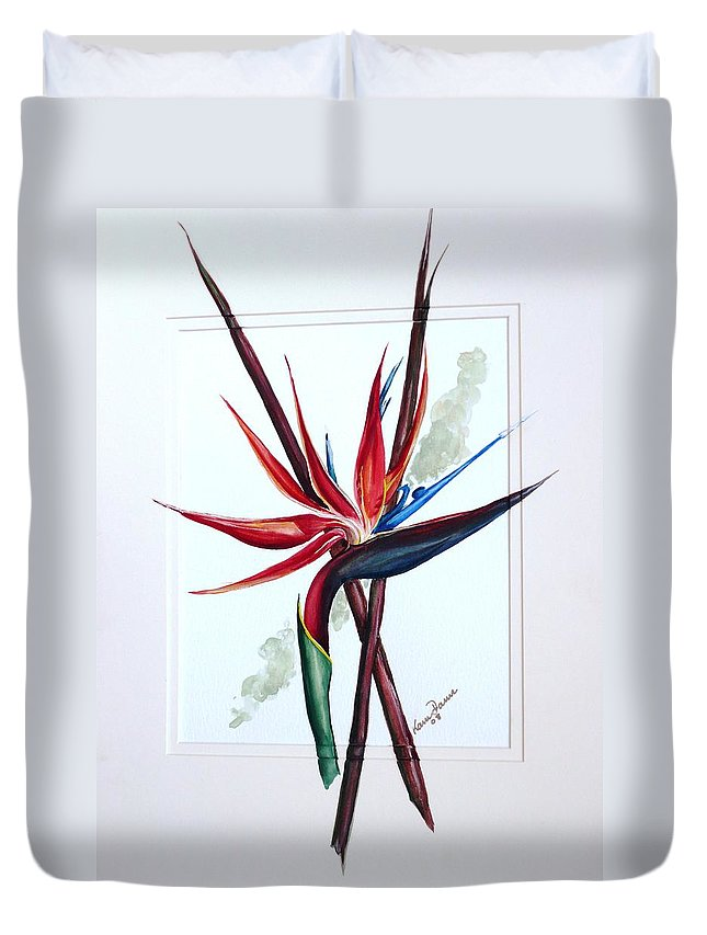 Floral Tropical Caribbean Flower Duvet Cover featuring the painting Bird Of Paradise Lily by Karin Dawn Kelshall- Best