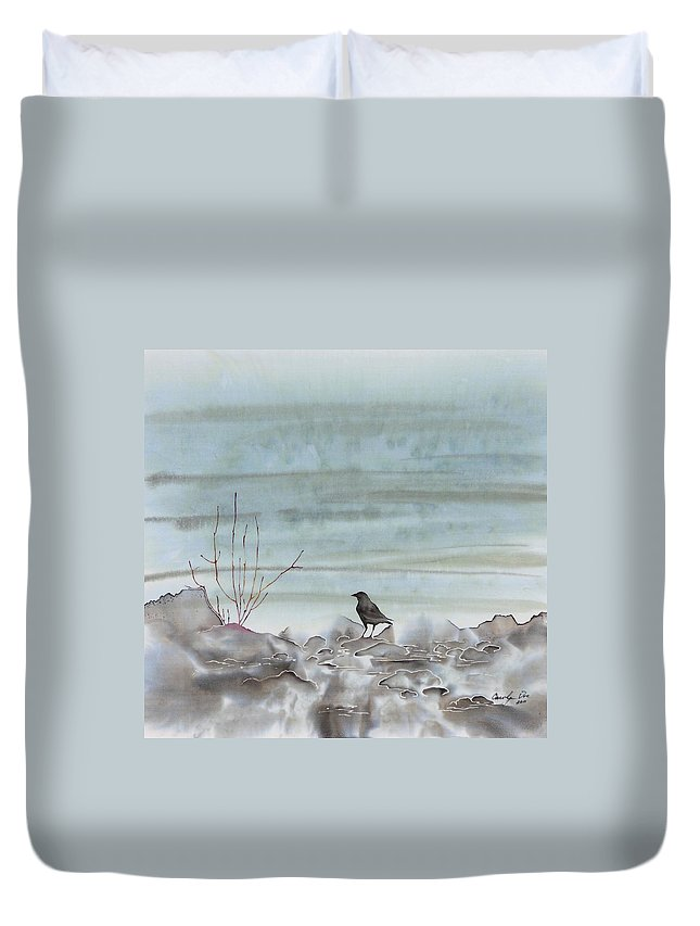 Bird Duvet Cover featuring the tapestry - textile Bird On The Shore by Carolyn Doe