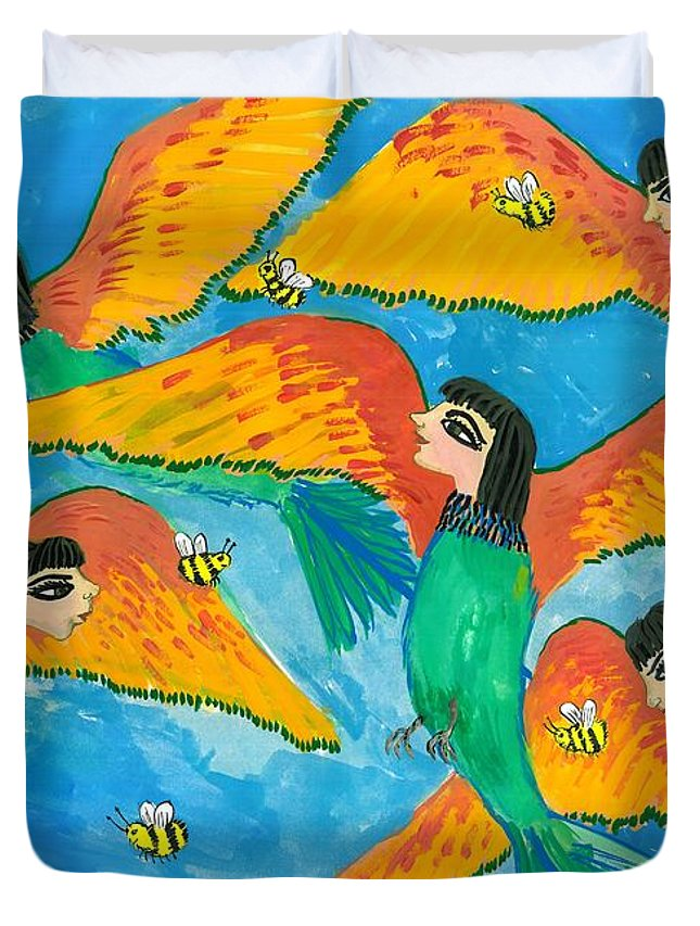 Sue Burgess Duvet Cover featuring the painting Bird People Little Green Bee Eaters Of Upper Egypt by Sushila Burgess