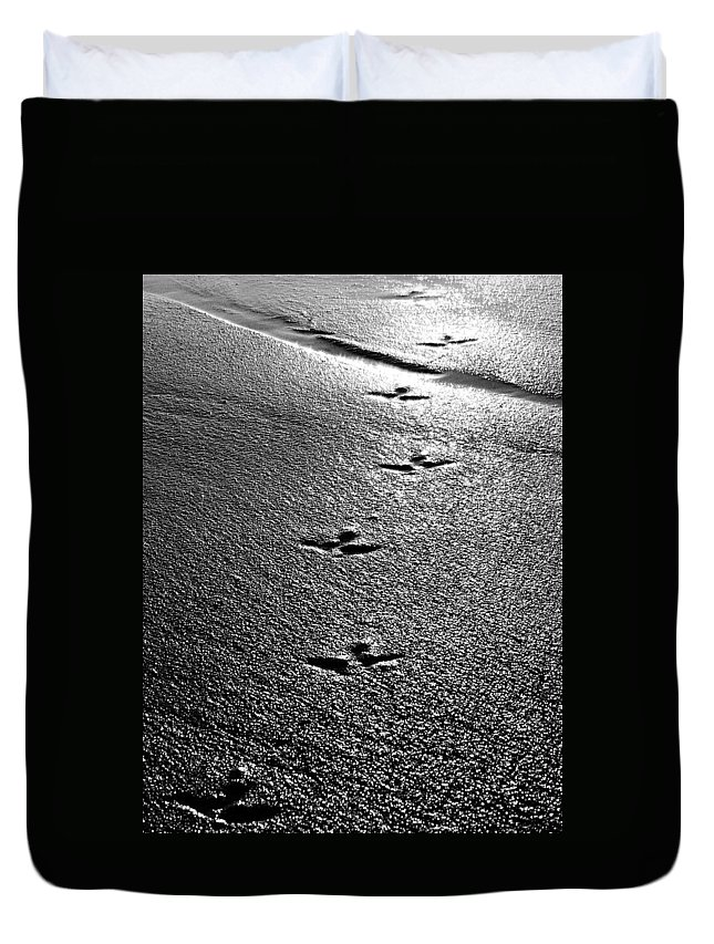 Sand Duvet Cover featuring the photograph Bird Prints In The Sand Black And White by Jill Reger