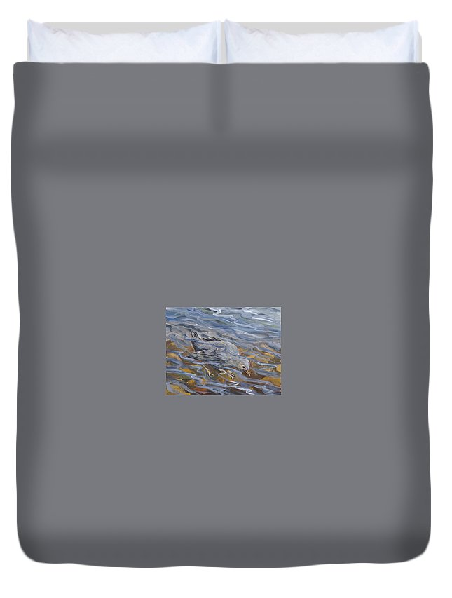 Animal Duvet Cover featuring the painting Bird Underwater by Dawn Senior-Trask