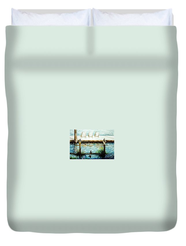 Birdhouse Duvet Cover featuring the painting Birdhouse Haven by Elizabeth Robinette Tyndall