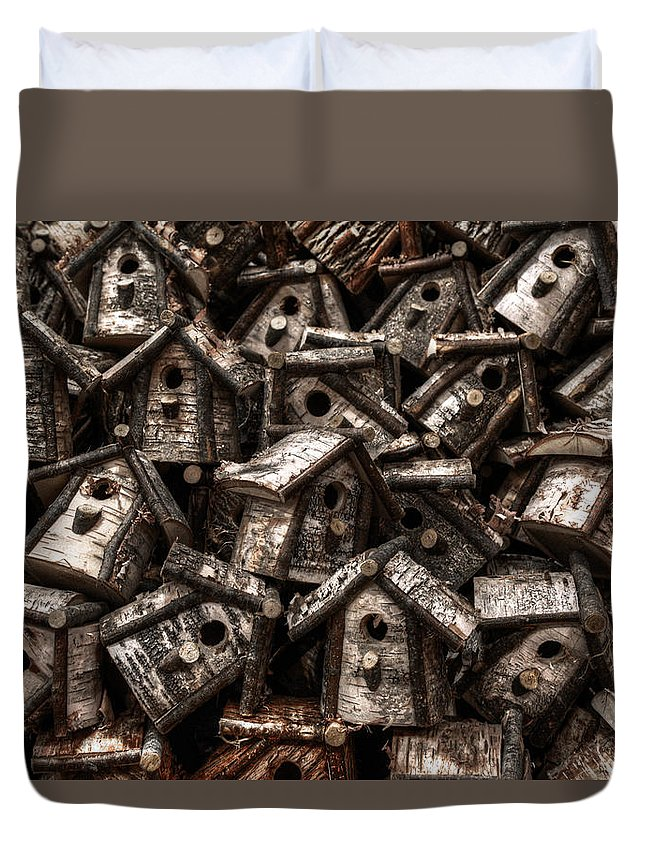 Birdhouse Duvet Cover featuring the photograph Birdhouses by Geoffrey Coelho