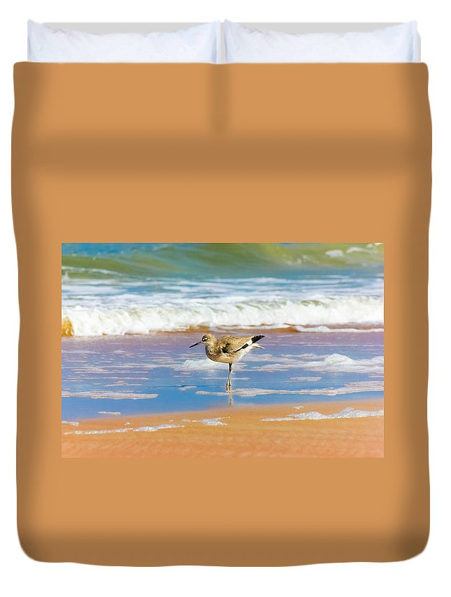 Water Duvet Cover featuring the photograph Birdling by Marisela Roman