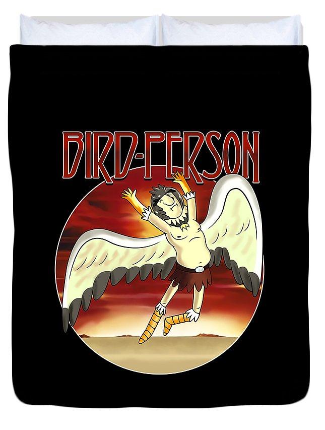 Birdperson Duvet Cover featuring the digital art Birdperson by Noval Sela