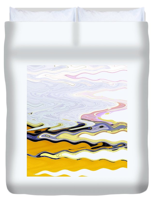 Abstract Duvet Cover featuring the digital art Birds And Beach by Lenore Senior