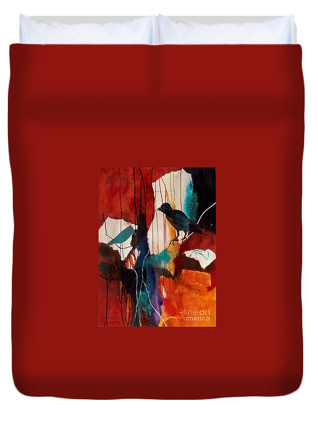 Abstract Expressionism Duvet Cover featuring the painting Bird's Eye View by Donna Frost