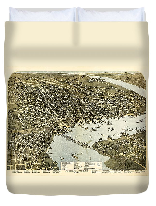 Birds Duvet Cover featuring the digital art Birds Eye View Of Jacksonville Florida 1893 by Bill Cannon
