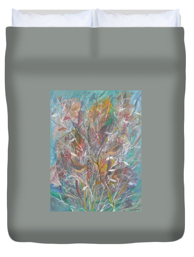 Birds Duvet Cover featuring the painting Birds In A Bush by Ben Kiger