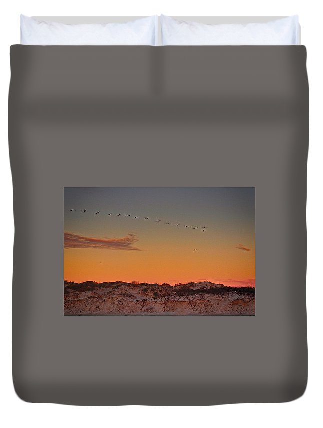 Sand Dunes Duvet Cover featuring the photograph Birds In Flight At Sunrise by Kristina Deane