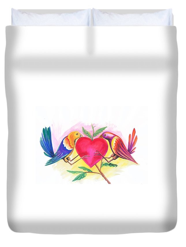 Love Duvet Cover featuring the painting Birds In Love 01 by Emmanuel Baliyanga