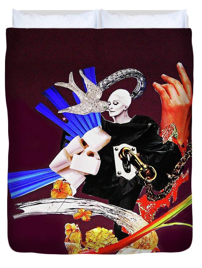 Woman Duvet Cover featuring the digital art Bird's Kiss by Barbara Jean Lloyd