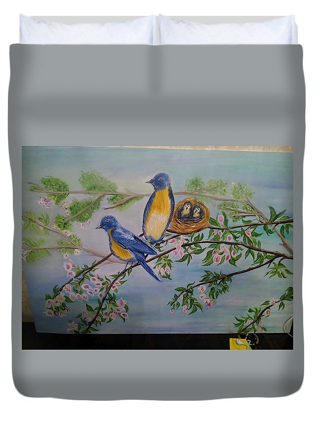 Birds Nature Nest Family Duvet Cover featuring the painting Birds Nest Family by Mamta Rathi