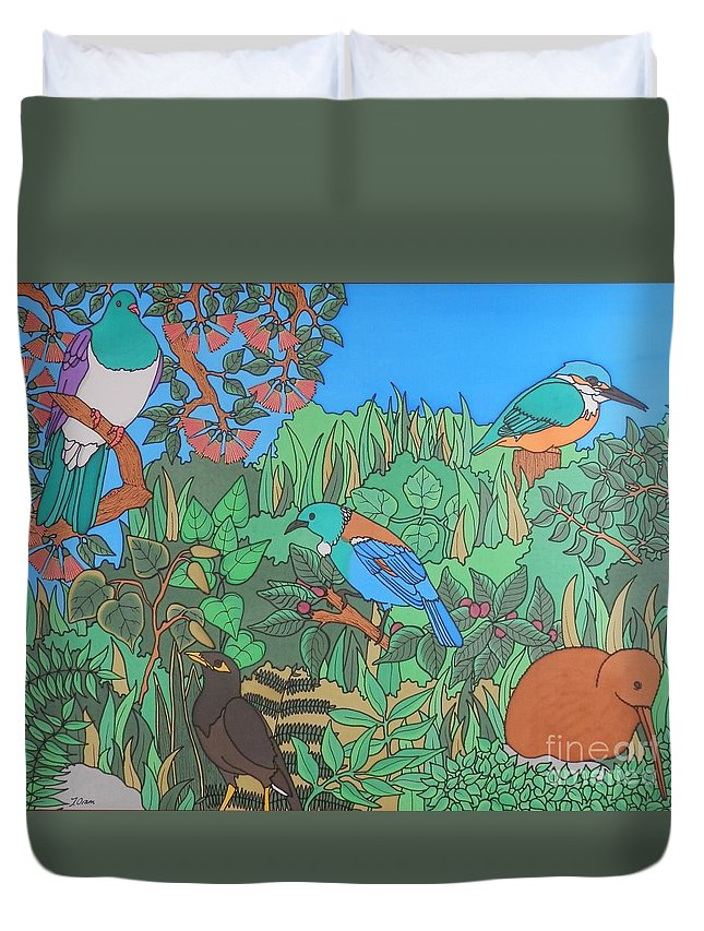 New Zealand Duvet Cover featuring the painting Birds Of A Feather by Joanne Oram