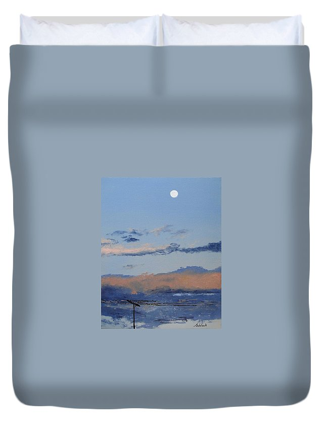 Landscape Duvet Cover featuring the painting Birds On A Wire by Barbara Andolsek