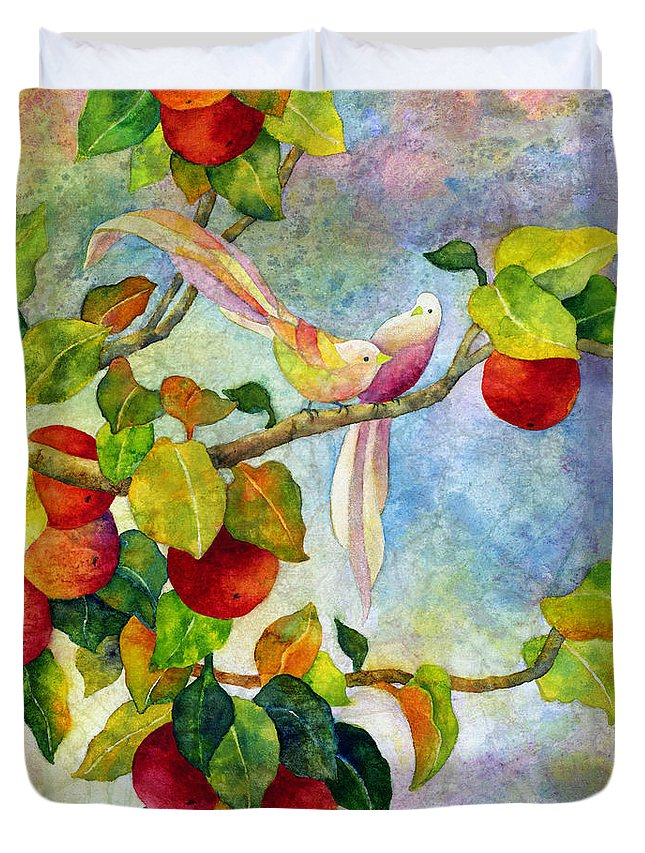 Birds Duvet Cover featuring the painting Birds On Apple Tree by Hailey E Herrera