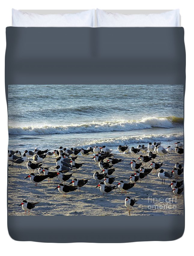Bird Duvet Cover featuring the photograph Birds On The Beach by D Hackett