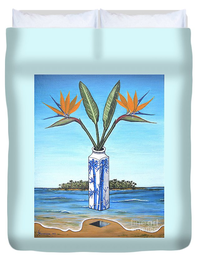 Bird Of Paradise Duvet Cover featuring the painting Birds Over Paradise Flowers by Jerome Stumphauzer
