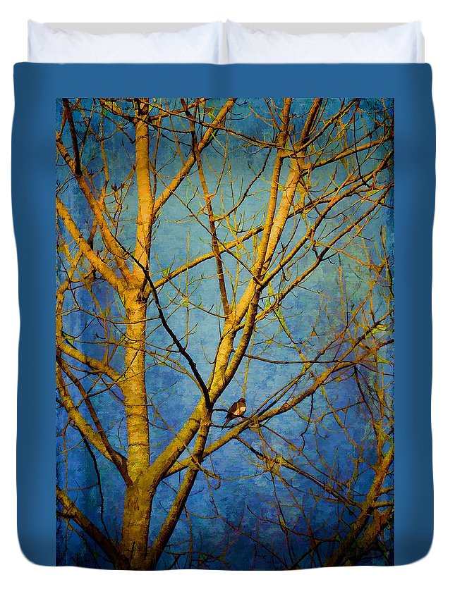 Trees Duvet Cover featuring the photograph Bird's The Word by Jan Amiss Photography