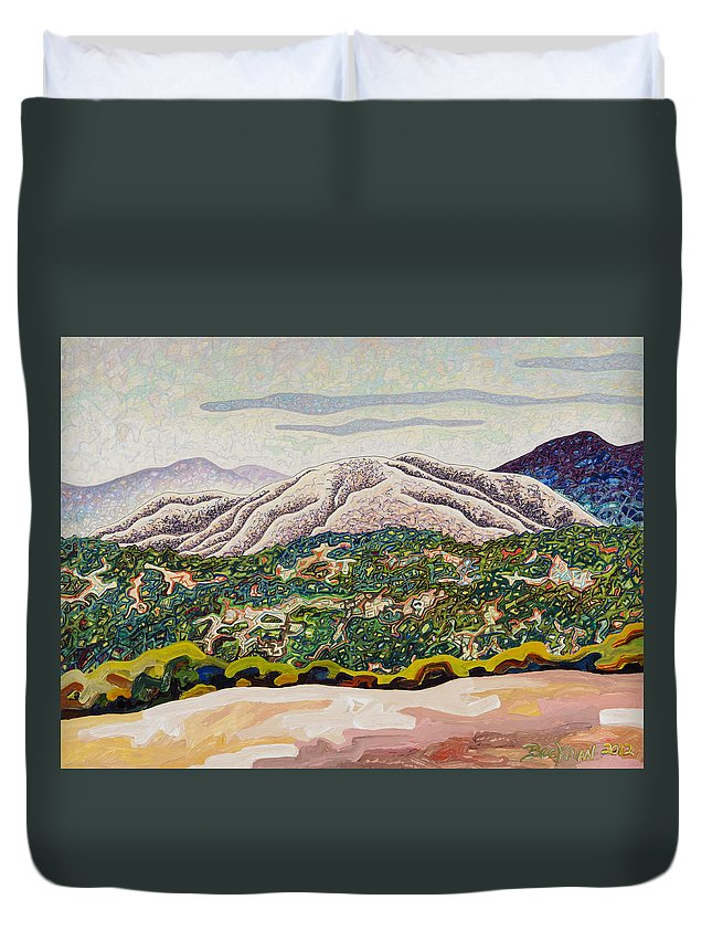 Birdseye Landscape #4 Duvet Cover featuring the mixed media Birdseye Landscape #4 by Dale Beckman