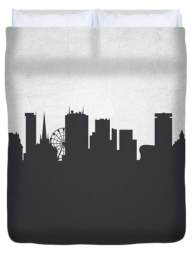 Birmingham Duvet Cover featuring the painting Birmingham England Cityscape 19 by Aged Pixel