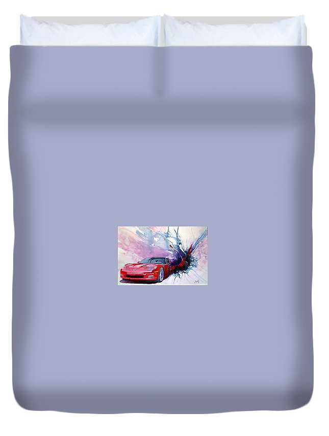 Red Corvette; C6; Duvet Cover featuring the painting Birth Of A Corvette by John Gabb