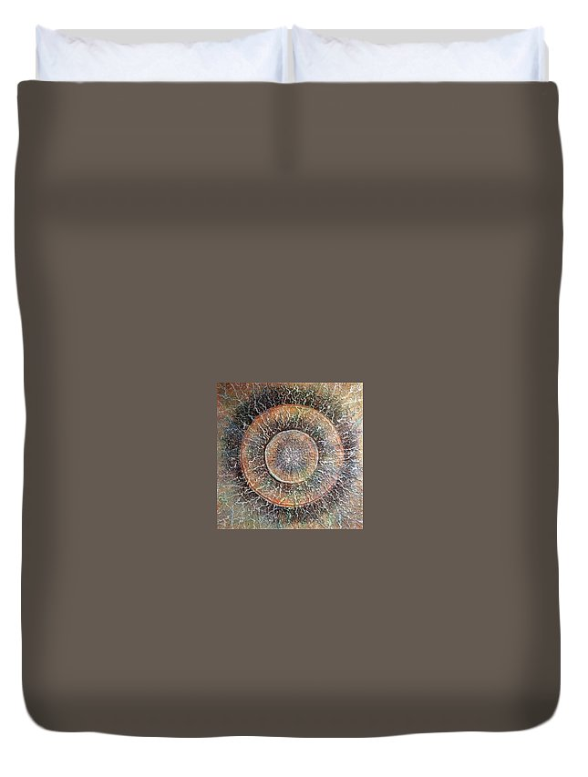 Mixed Media Duvet Cover featuring the painting Birth Of Music by Agnieszka Adamska
