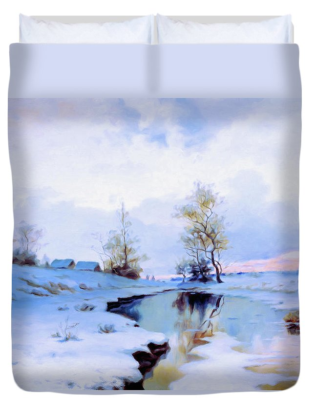 Birth Of Spring In The Snow Duvet Cover featuring the mixed media Birth Of Spring In The Snow by Georgiana Romanovna