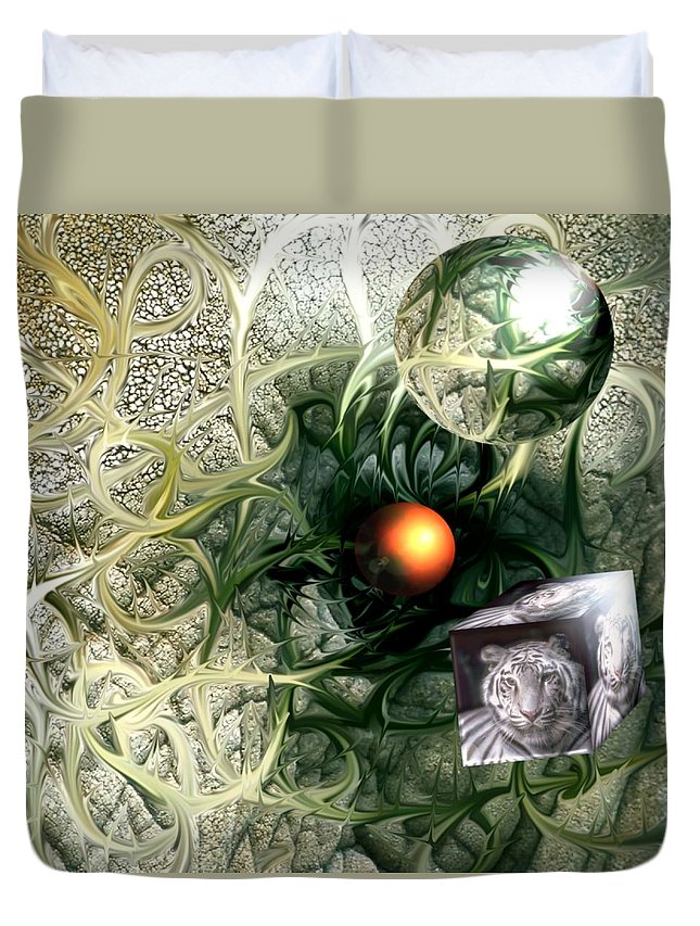 Abstract Nature Red Birth Tiger Spheres Wire Duvet Cover featuring the digital art Birth by Veronica Jackson