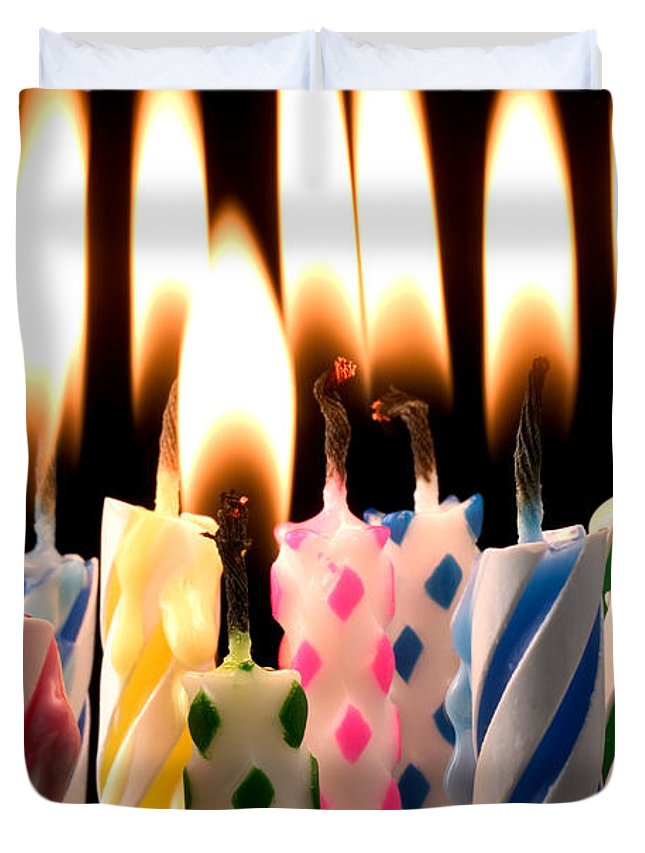 Flame Duvet Cover Featuring The Photograph Birthday Candles By Garry Gay
