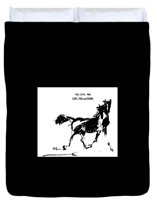 Horses Duvet Cover featuring the drawing Birthday Image by Paul Miller