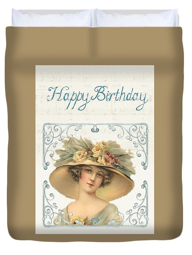 Witchcraft Duvet Cover featuring the digital art Birthday Lady by Frederick Holiday