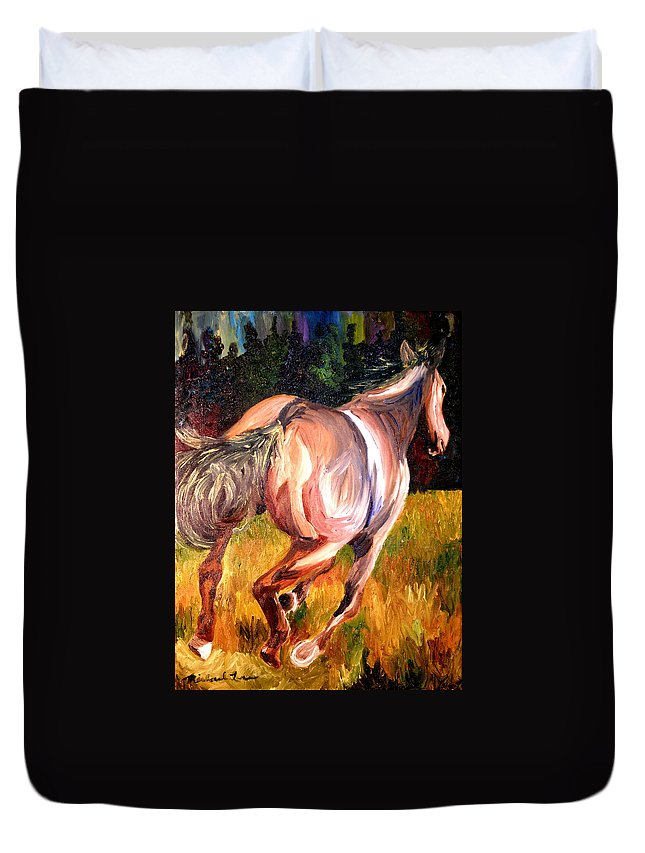 Horse Duvet Cover featuring the painting Birthday Poney by Michael Lee
