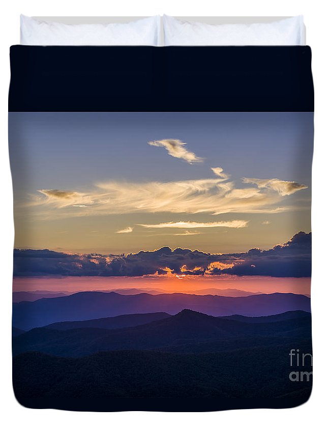 Appalachian Duvet Cover featuring the photograph Birthday Sunset by John MacLean