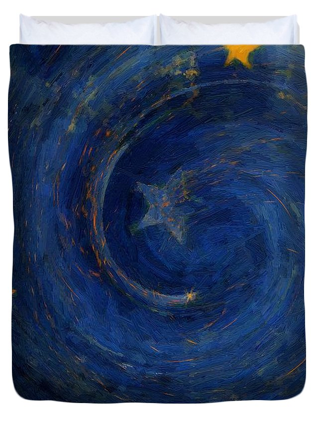 Stars Duvet Cover featuring the painting Birthed In Stars by RC DeWinter