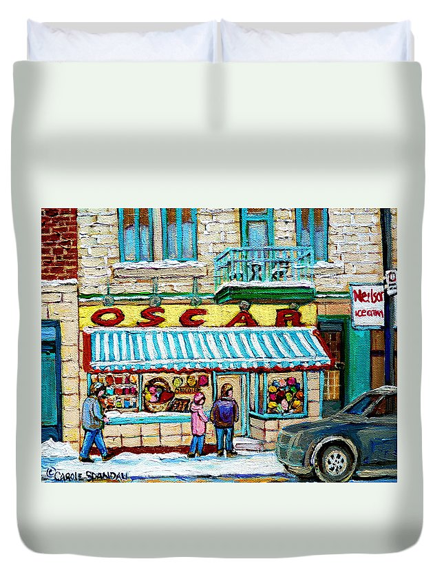Biscuiterie Oscar Duvet Cover featuring the painting Biscuiterie Oscar Rue Ontario by Carole Spandau