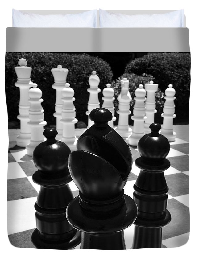Chess Duvet Cover featuring the photograph Bishops Move by David Lee Thompson