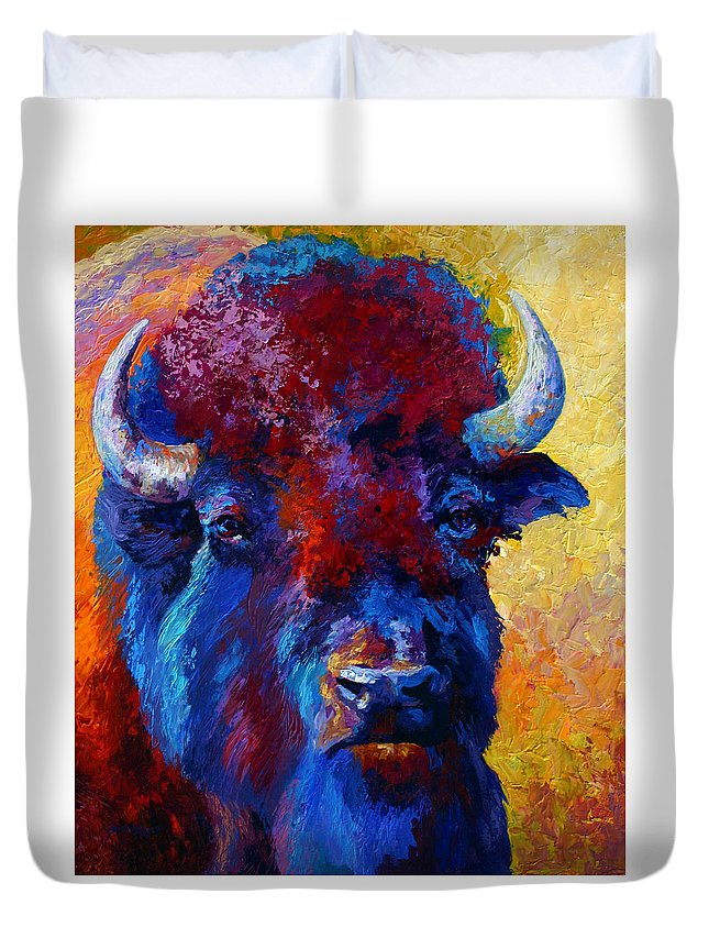 Wildlife Duvet Cover featuring the painting Bison Boss by Marion Rose