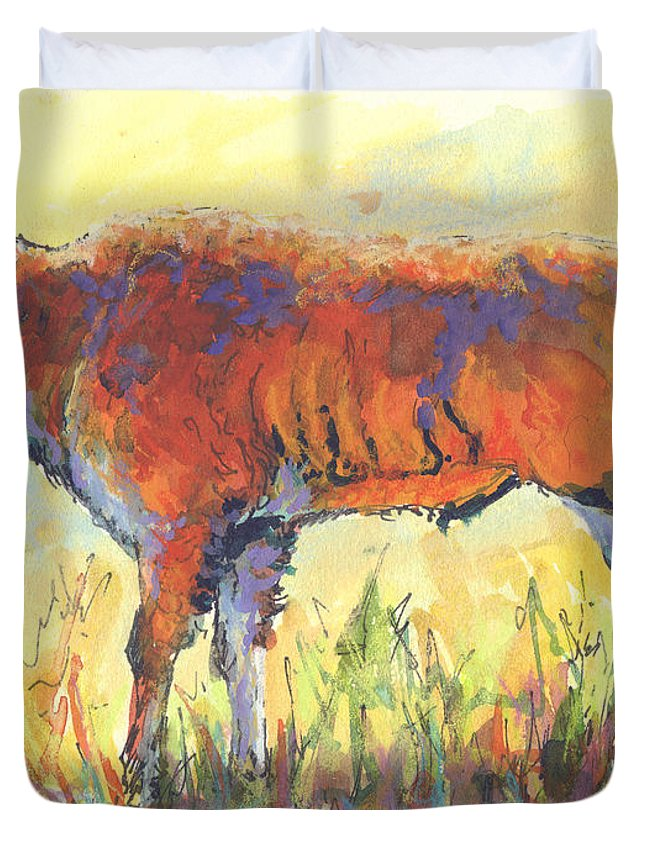 Bison Duvet Cover featuring the painting Bison Calf by Marion Rose
