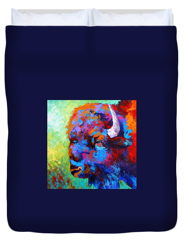 Wildlife Duvet Cover featuring the painting Bison Head II by Marion Rose