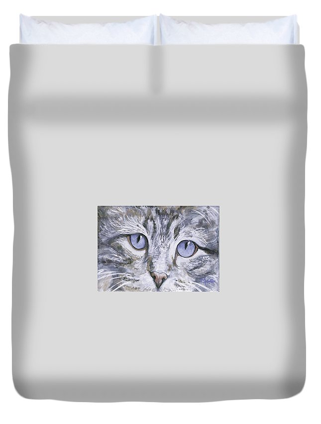 Charity Duvet Cover featuring the painting Bisous by Mary-Lee Sanders