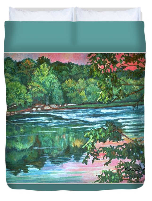 River Duvet Cover featuring the painting Bisset Park Rapids by Kendall Kessler